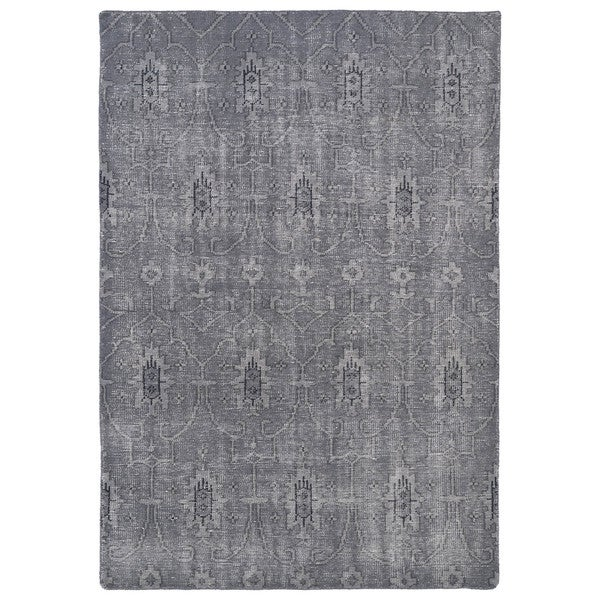 Hand-Knotted Vintage Replica Grey Wool Rug (9'0 x 12'0) - 9' x 12'