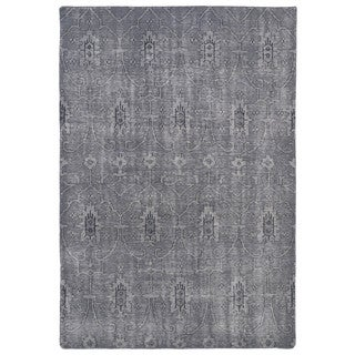 Hand-Knotted Vintage Replica Grey Wool Rug (9' x 12')