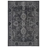 Hand-Knotted Vintage Replica Black Wool Rug (5'6 x 8'6) - 5'6 x 8'6