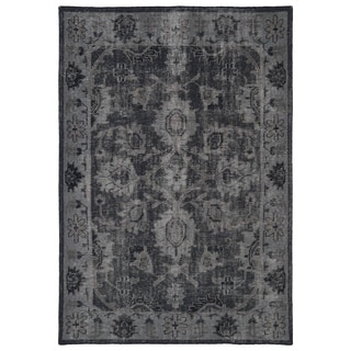 Hand-Knotted Vintage Replica Black Wool Rug (9' x 12')