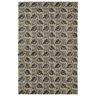 Hand-Knotted Vintage Replica Gold Wool Rug (5'6 x 8'6)