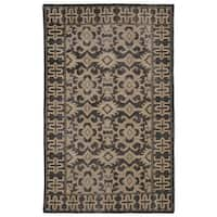 Hand-Knotted Vintage Replica Chocolate Brown Wool Rug (4' x 6')