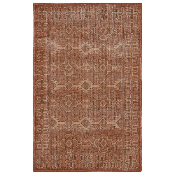 Hand-Knotted Vintage Replica Pumpkin Wool Rug (4'0 x 6'0) - 4' x 6'