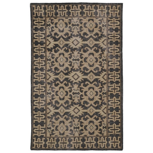 Hand-Knotted Vintage Replica Chocolate Brown Wool Rug - 8' x 10'