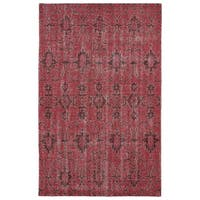 Hand-Knotted Vintage Replica Red Wool Rug - 5'6 x 8'6