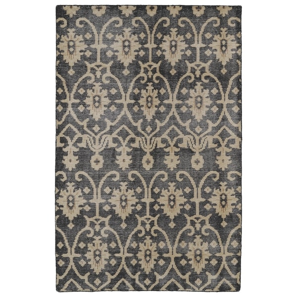 Hand-Knotted Vintage Replica Charcoal Wool Rug - 8' x 10'