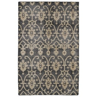 Hand Knotted Vintage Replica Black Wool Rug 8 X 10
