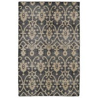 Hand-Knotted Vintage Replica Charcoal Wool Rug (8' x 10')