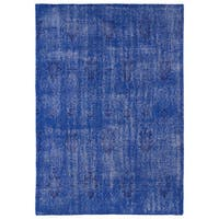 Hand-Knotted Vintage Replica Blue Wool Rug - 5'6 x 8'6