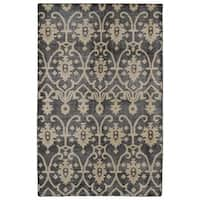 Hand-Knotted Vintage Replica Charcoal Wool Rug (4' x 6')