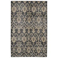 Hand-Knotted Vintage Replica Charcoal Wool Rug - 9' x 12'