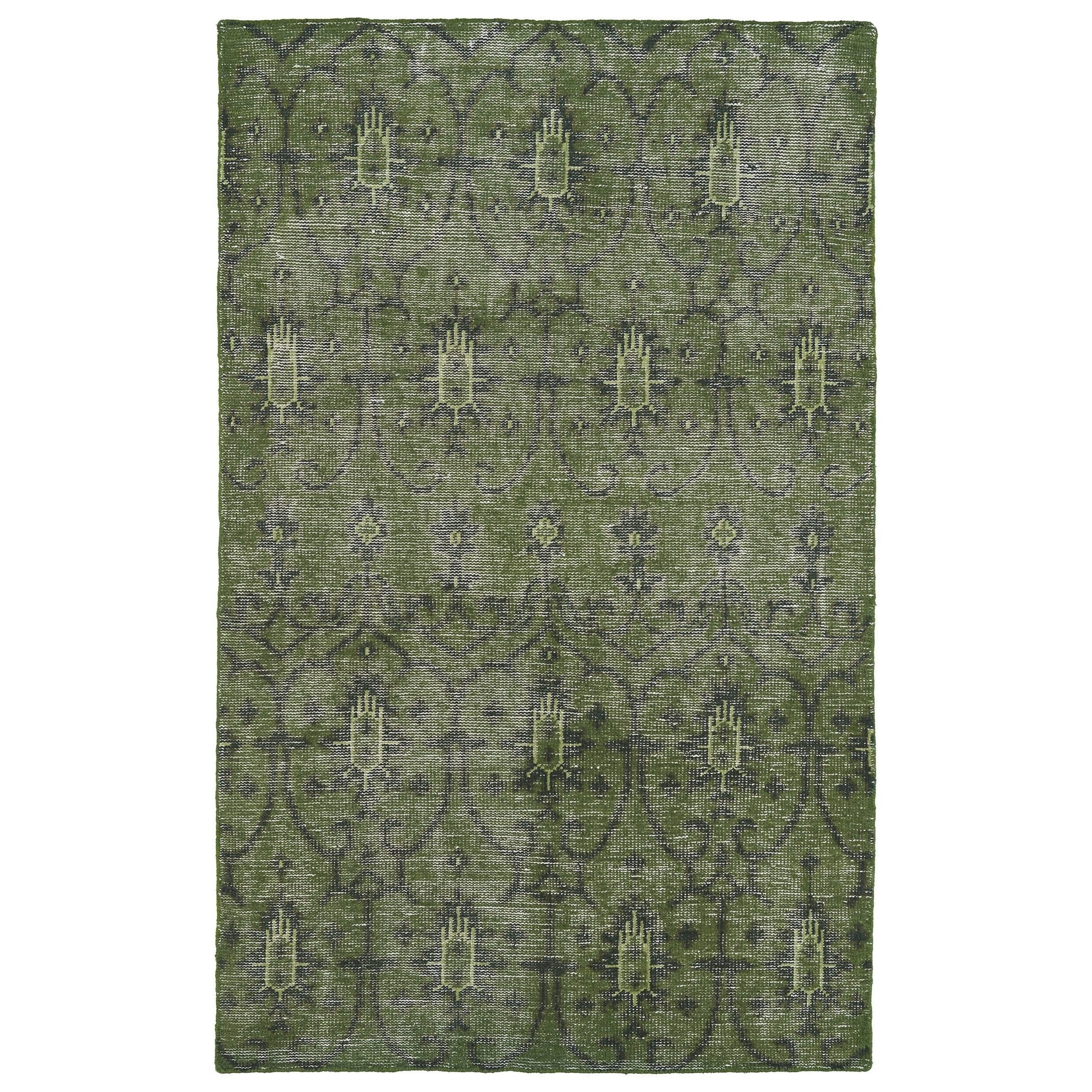 Bombay Home Hand-Knotted Vintage Replica Green Wool Rug (...