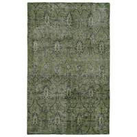 Hand-Knotted Vintage Replica Green Wool Rug - 5'6 x 8'6