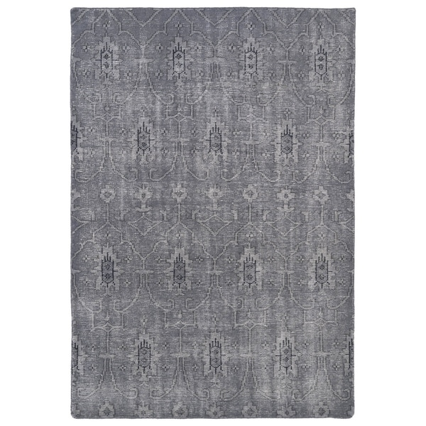 Hand-Knotted Vintage Replica Grey Wool Rug (8' x 10')