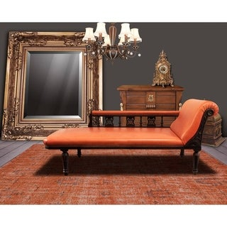 Hand-Knotted Vintage Replica Orange Wool Rug (5'6 x 8'6) - 5'6 x 8'6