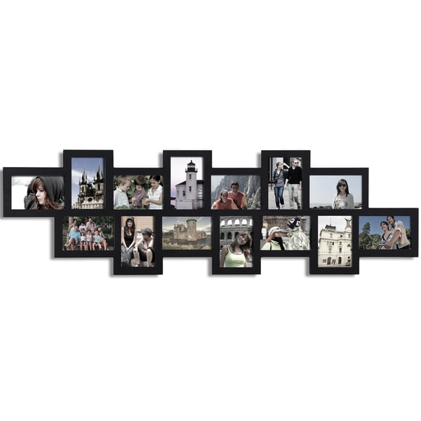 Adeco Decorative Black Wood Alternating Puzzle Collage Wall Hanging Photo Frame with 14 4x6-inch Openings