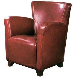 Red Faux Leather Club Chair
