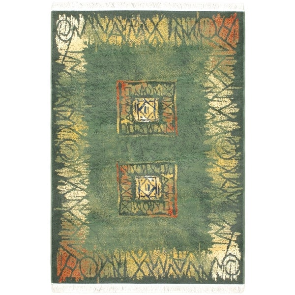 "Alicante Green Bordered Abstract Geometric Rug - 5'3"" x 7'4"""