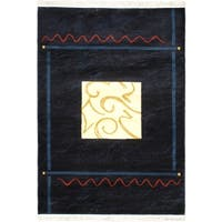 Alicante Navy Abstract Geometric Bordered Rug - 5'3 x 7'4