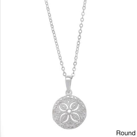 La Preciosa Sterling Silver 1/10ct TDW Sand Dollar Diamond Necklace