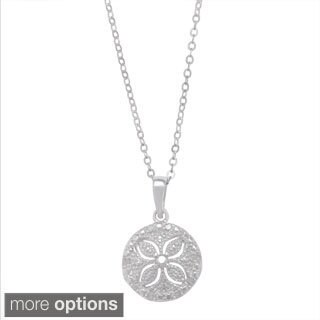 La Preciosa Sterling Silver 1/10ct TDW Sand Dollar Diamond Necklace