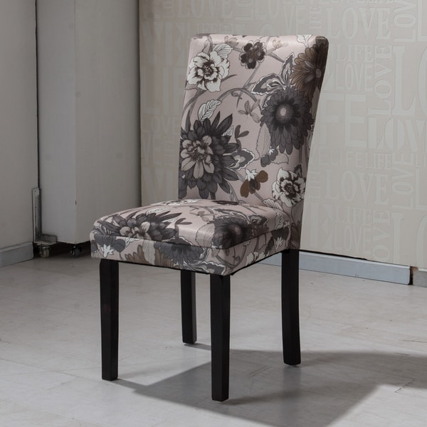 Shop Hlw Arbonni Cream Grey Floral Modern Parson Chairs