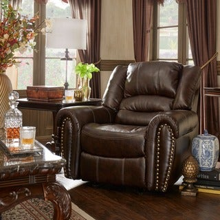 TRIBECCA HOME Isaac Bonded Leather Glider Reclining Chair