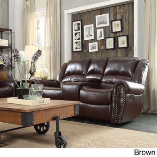 Isaac Bonded Leather Double Glider Reclining Loveseat with Console by TRIBECCA HOME