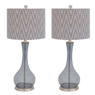 Casa Cortes Glass Zigzag Chevron Handcrafted Table Lamp (Set of 2)