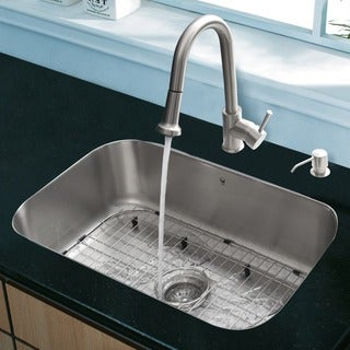VIGO All-in-One 23-inch Stainless Steel Undermount Kitchen Sink and Harrison Stainless Steel Faucet Set