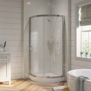 OVE Decors Breeze 31 Inch Shower Enclosure With Base And Glass Panels