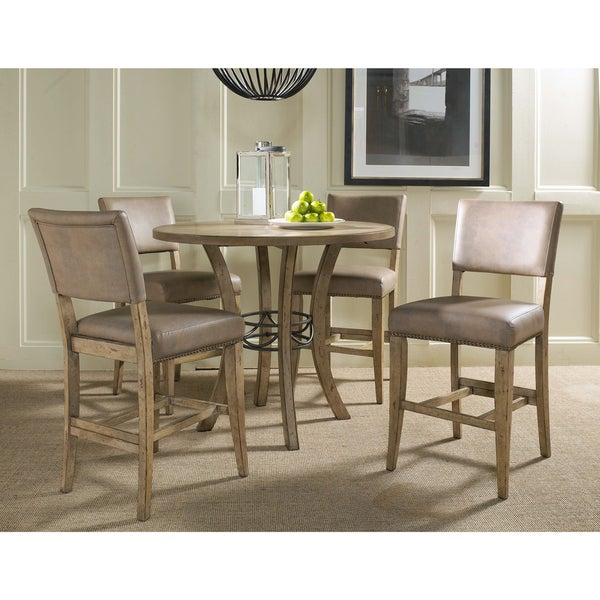 Charmant Charleston 5 Piece Counter Height Round Wood Dining Set With Parson Stool