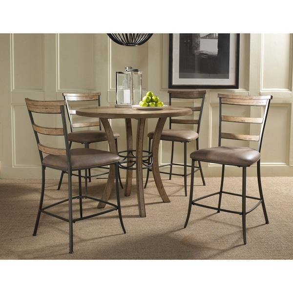 Charleston 5-piece Counter Height Round Wood Dining Set with Ladder ...
