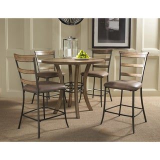 Charleston 5-piece Counter Height Round Wood Dining Set with Ladder Back Stool