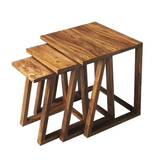 Contemporary Wooden 3-in-1 Nesting Tables (India)