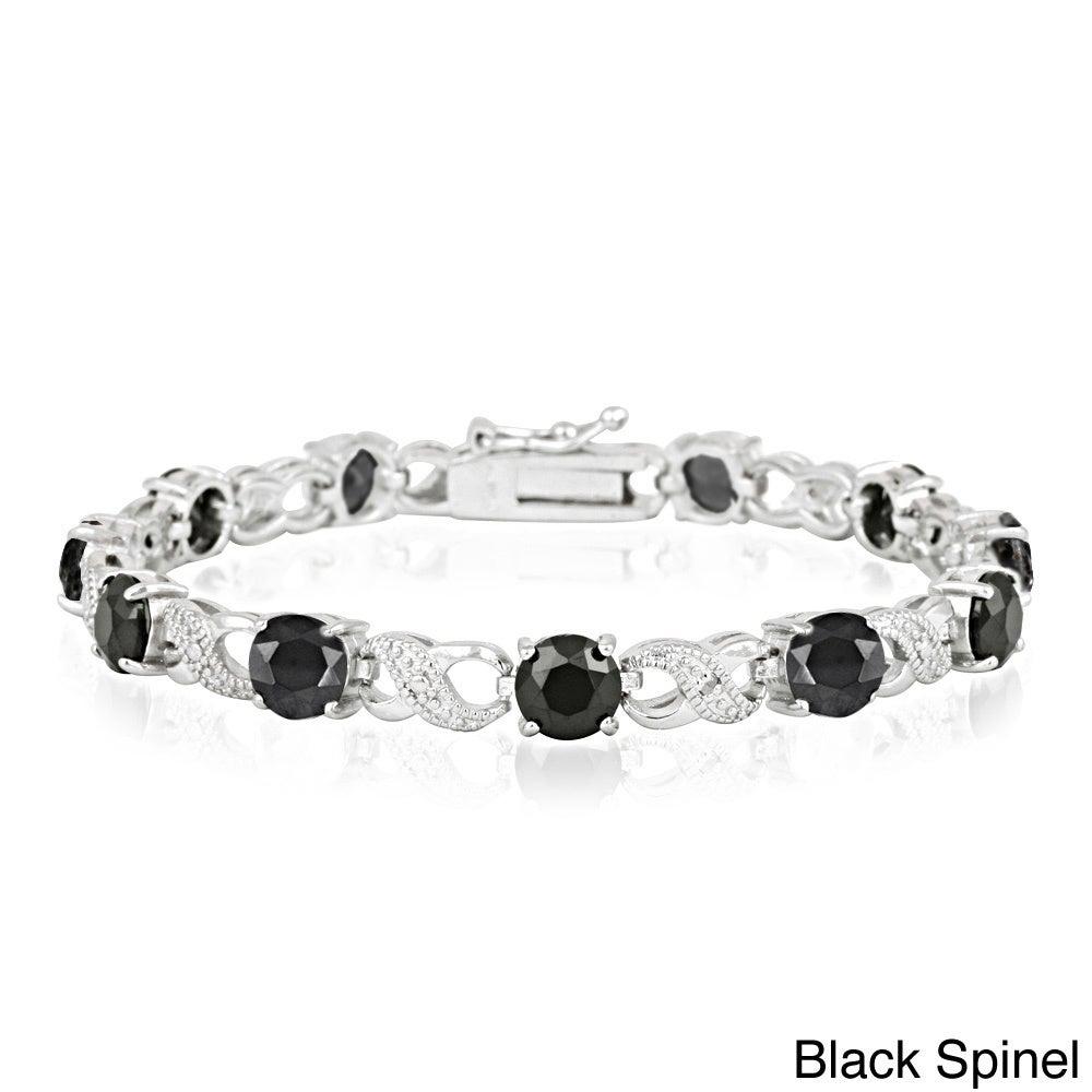 Glitzy Silvertone Gemstone and Diamond Accent Infinity Br...