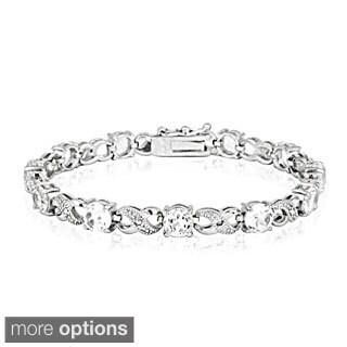 Glitzy Rocks Silvertone Gemstone and Diamond Accent Infinity Bracelet
