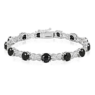 Glitzy Rocks Silvertone Gemstone and Diamond Accent Infinity Bracelet