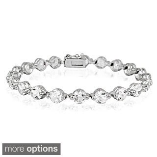 Glitzy Rocks Silvertone Gemstone and Diamond Accent Circle Tennis Bracelet