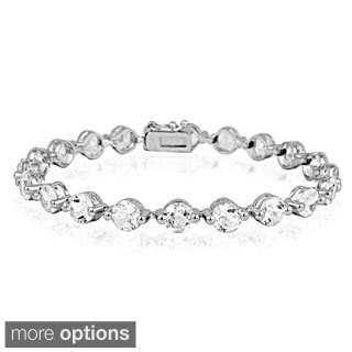 Glitzy Rocks Silvertone Gemstone and Diamond Accent Circle Tennis Bracelet