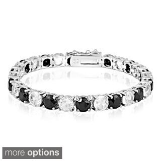 Glitzy Rocks 29 2/5ct TGW White Topaz and Black Spinel Tennis Bracelet