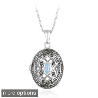 Glitzy Rocks Sterling Silver Gemstone and Marcasite Oval Locket Necklace