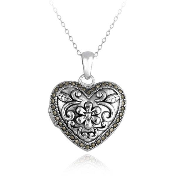Glitzy Rocks Sterling Silver Marcasite Heart Floral Locket Necklace