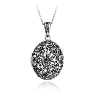 Glitzy Rocks Sterling Silver Marcasite Oval Locket Necklace