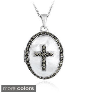 Glitzy Rocks Sterling Silver Marcasite and Mother of Pearl Oval Cross Locket Neklace