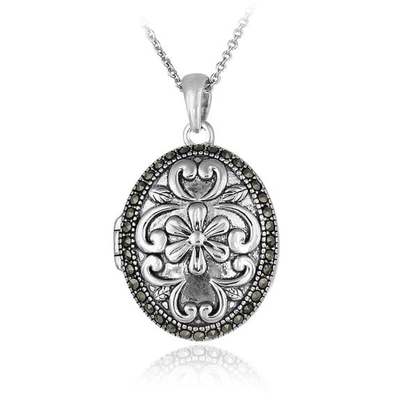 Glitzy Rocks Sterling Silver Marcasite Flower Locket Necklace