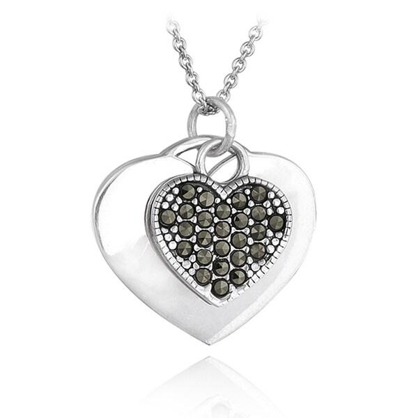 c7d75625c0d7e0 Shop Glitzy Rocks Sterling Silver Marcasite Heart Necklace - On Sale ...