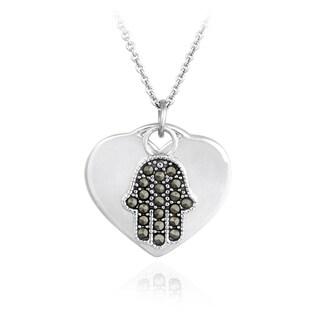 Glitzy Rocks Sterling Silver Marcasite Heart and Hamsa Necklace