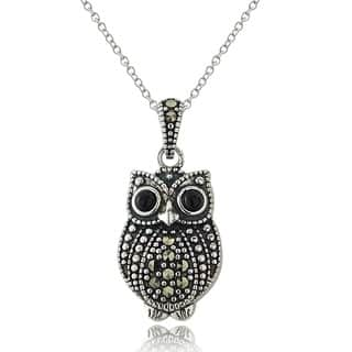 Glitzy Rocks Sterling Silver Marcasite and Onyx Owl Necklace https://ak1.ostkcdn.com/images/products/8924071/P16140453.jpg?impolicy=medium