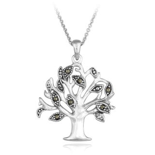 Glitzy Rocks Sterling Silver Marcasite Tree of Live Necklace